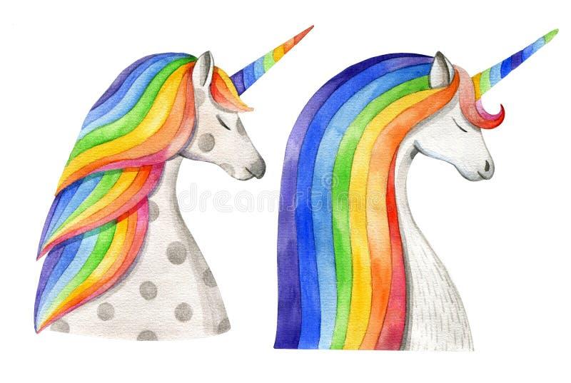 Dois unicórnios com jubas e chifres do arco-íris Desenho da aguarela ilustração stock