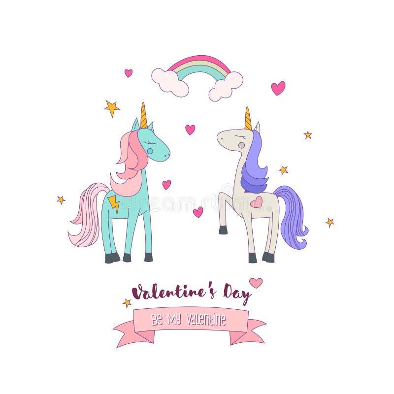 Dois Unicorn Ponies no amor ilustração royalty free