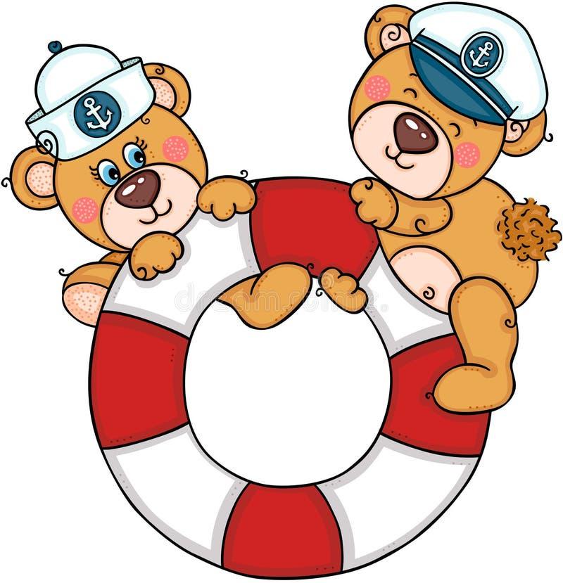 Dois ursos de peluche bonitos na ajuda para salvar o flutuador da vida com chapéus do marinheiro ilustração royalty free