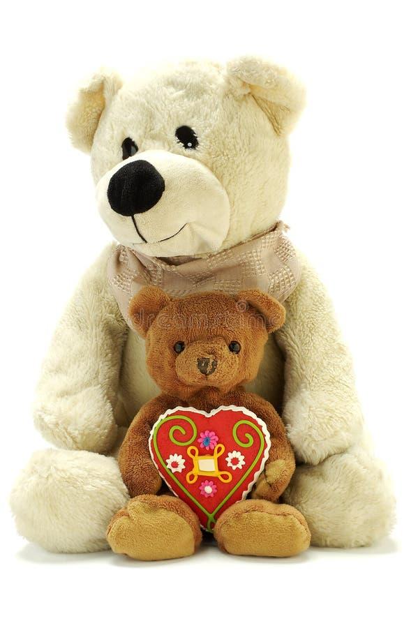 Dois ursos de peluche com querido imagens de stock royalty free