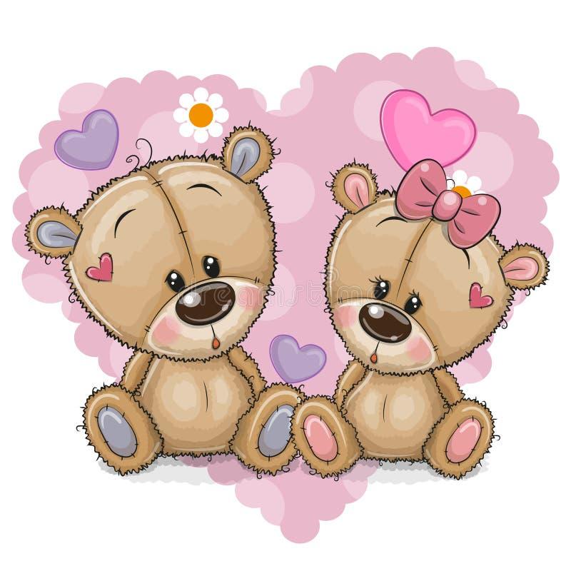 Dois ursos dos desenhos animados em um fundo do coração ilustração royalty free