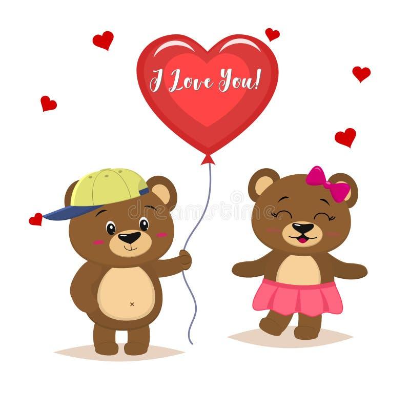 Dois ursos marrons bonitos estão, o menino estão guardando uma bola vermelha, panda da menina em uma saia cor-de-rosa e com uma c ilustração do vetor