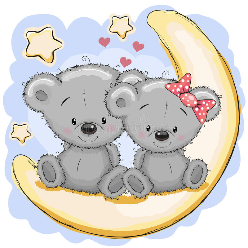 Dois ursos na lua ilustração do vetor