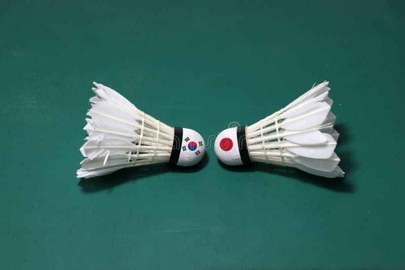 Dois usaram petecas no assoalho verde da corte de badminton com para dirigir-se Uma cabeça pintada com a bandeira e a uma de Core fotografia de stock royalty free