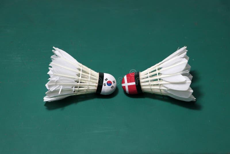 Dois usaram petecas no assoalho verde da corte de badminton com para dirigir-se Uma cabeça pintada com a bandeira e a uma de Core imagens de stock