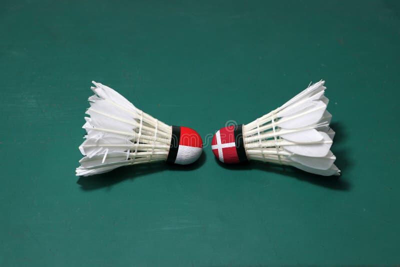 Dois usaram petecas no assoalho verde da corte de badminton com para dirigir-se Uma cabeça pintada com bandeira e uma de Indonési foto de stock