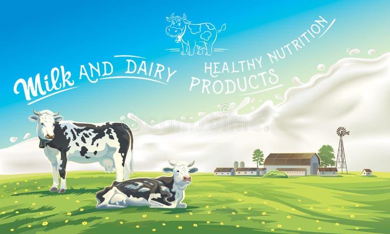 Dois vacas e respingos do leite ilustração stock