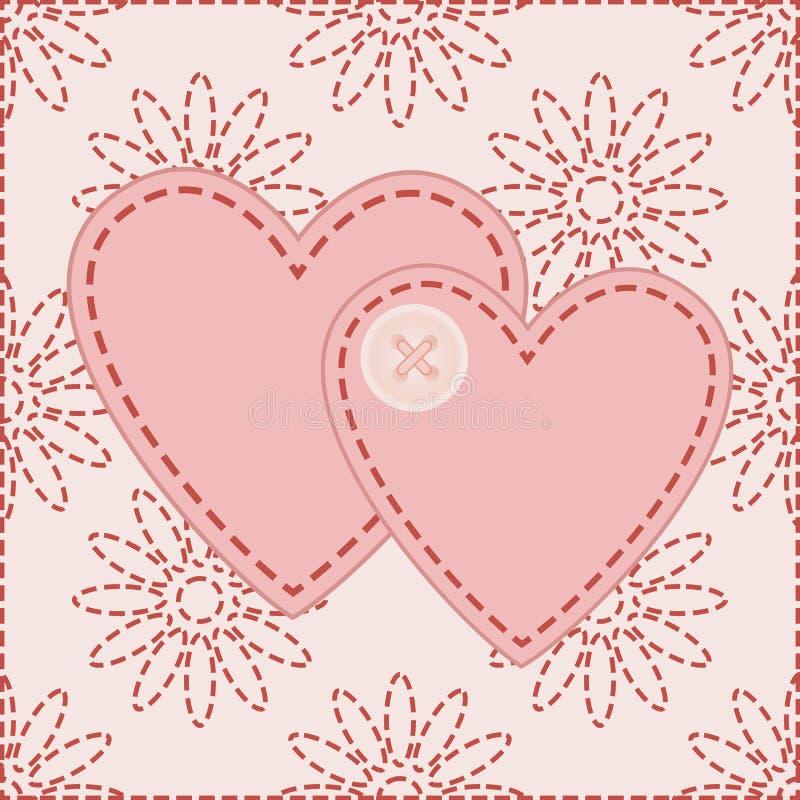 Valentim sewed com botão ilustração stock