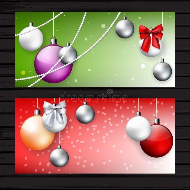 Dois vermelhos e insetos verdes do Natal ilustração royalty free