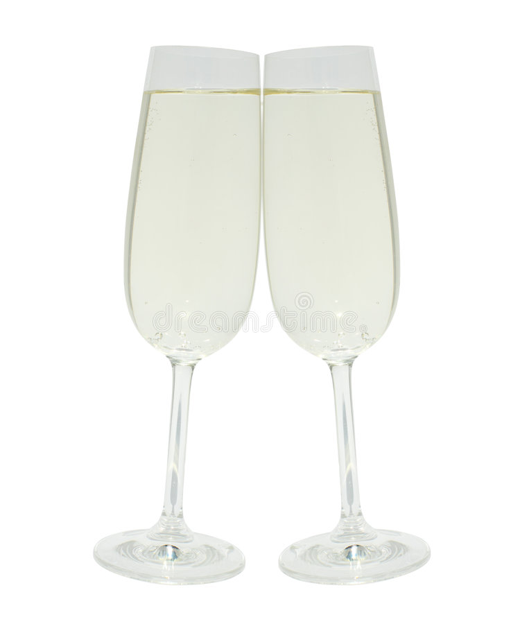 Dois vidros clinking com champanhe foto de stock