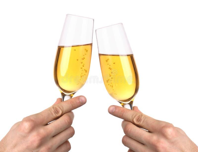 Dois vidros com champanhe imagens de stock royalty free