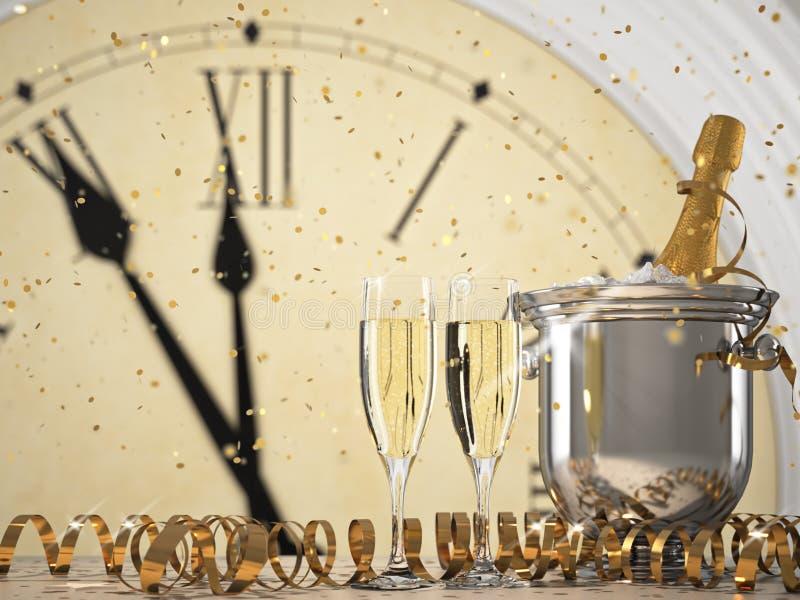 Dois vidros com champanhe e garrafa rendição 3d ilustração do vetor