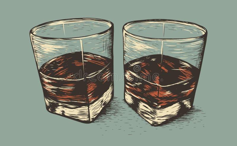 Dois vidros com rum ilustração stock
