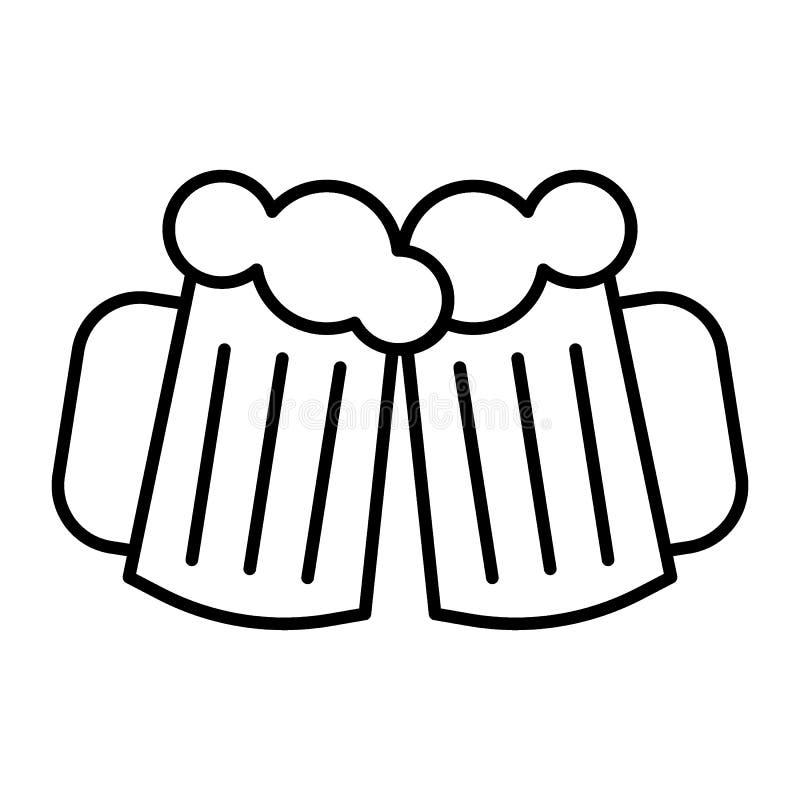 Dois vidros da cerveja diluem a linha ícone As canecas de cerveja dos elogios vector a ilustração isolada no branco Cerveja que b ilustração do vetor
