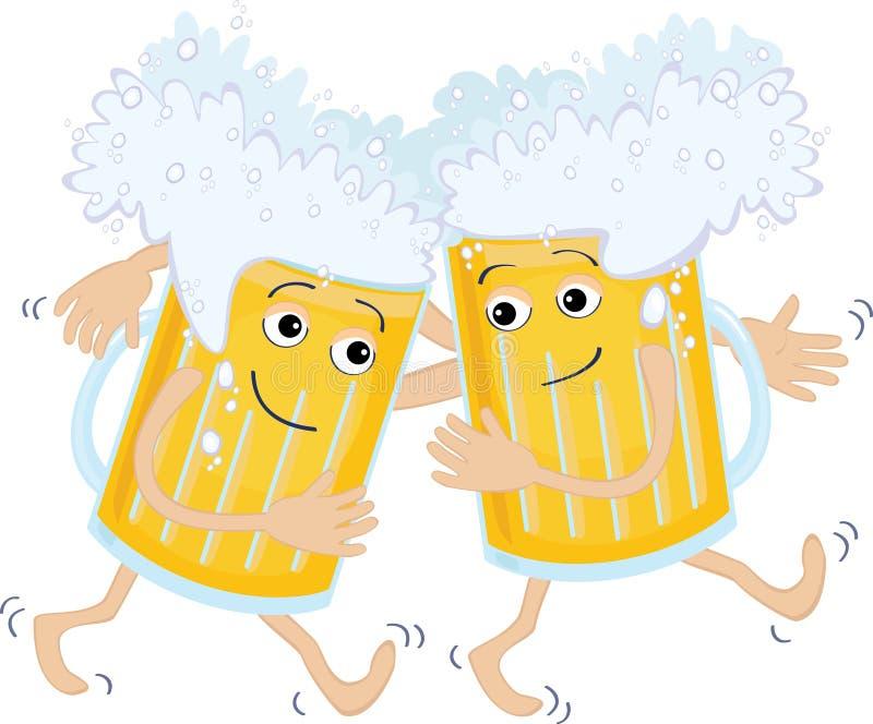 Dois vidros de cerveja ilustração stock