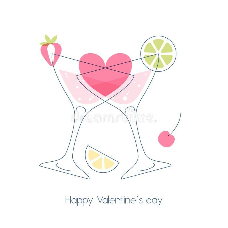 Dois vidros de cocktail com coração ilustração royalty free