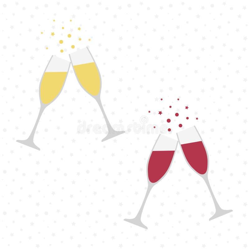 Dois vidros do champanhe e de vinho cheers celebration Brinde do feriado ilustração do vetor