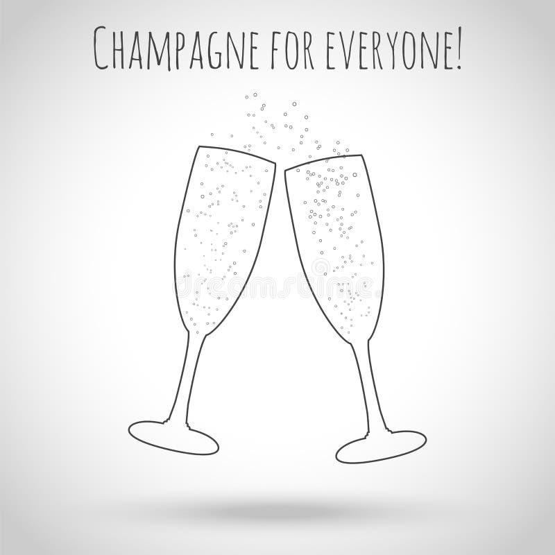 Dois vidros do champanhe Ilustração do vetor Contornos do vidro ilustração do vetor