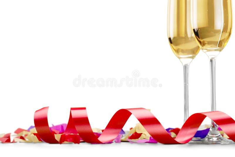 Dois vidros do champanhe isolados no branco fotografia de stock