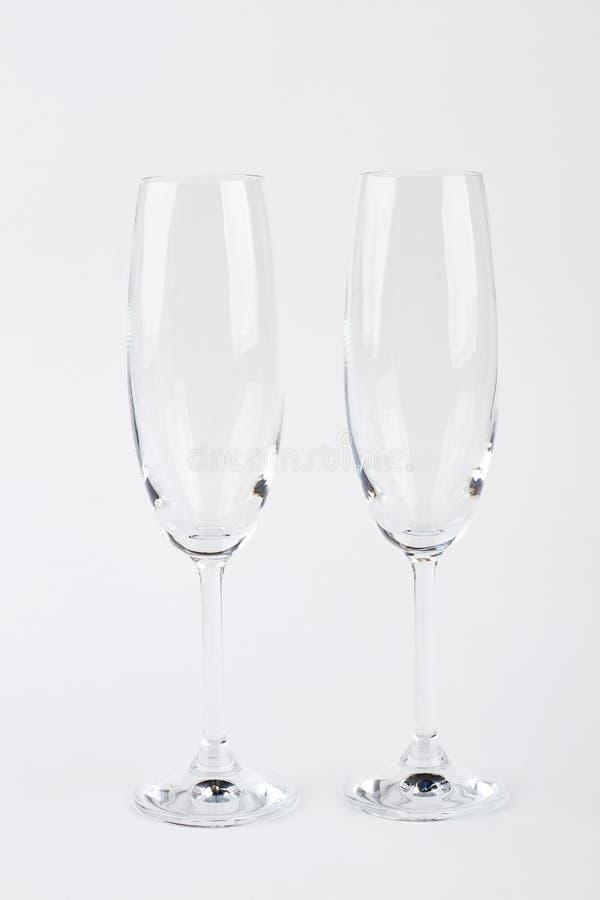 Dois vidros do champanhe, vista dianteira imagens de stock royalty free