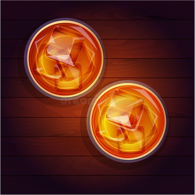 Dois vidros do uísque com gelo, vista superior ilustração stock