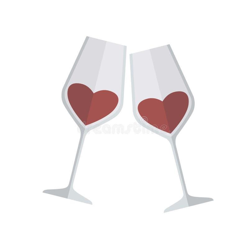 Dois vidros do vinho Ilustração colorida do vetor no branco ilustração stock