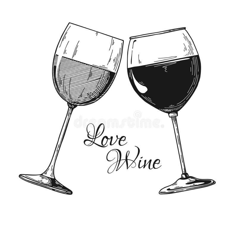 Dois vidros do vinho Ilustração do vetor Vinho do amor do texto ilustração stock