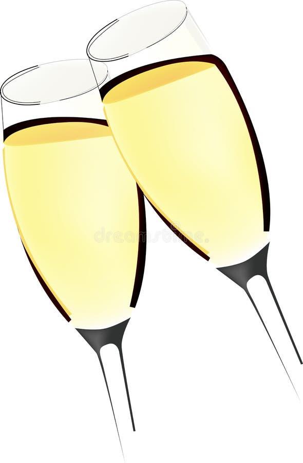 Dois vidros do vinho Sparkling ilustração stock