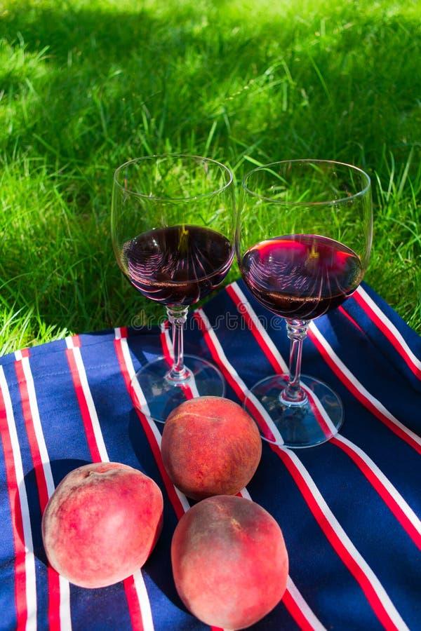 Dois vidros do vinho tinto, em um fundo da grama O conceito de um piquenique romântico na natureza imagem de stock