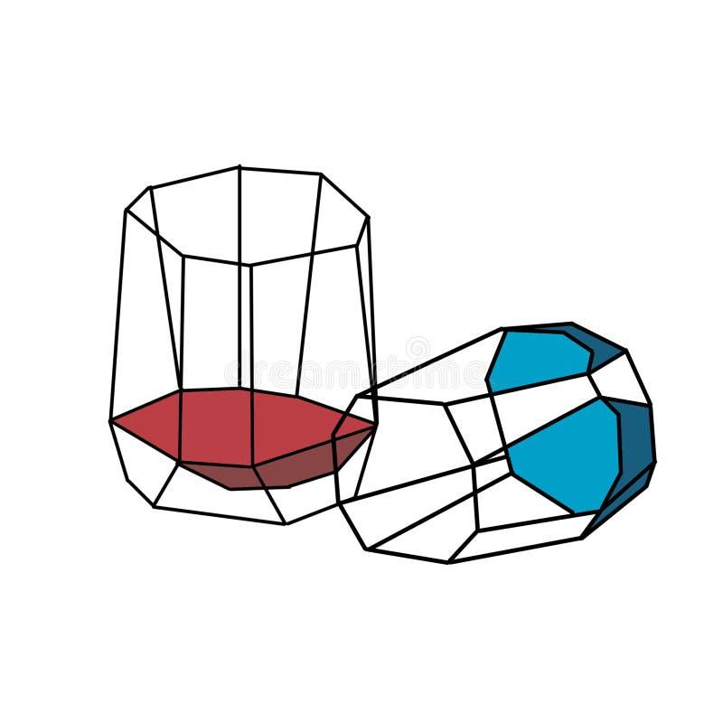 Dois vidros lapidados Um com vinho, as segundo-mentiras em um lado de ilustração do vetor
