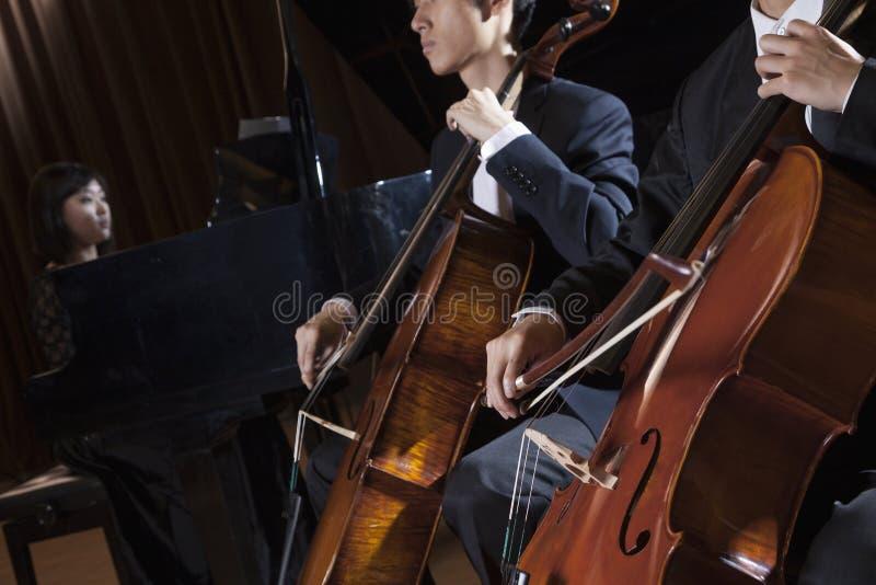 Dois violoncelistas que jogam o violoncelo durante um desempenho foto de stock royalty free