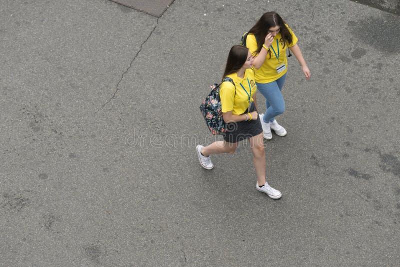 Dois voluntários novos em Lourdes France foto de stock