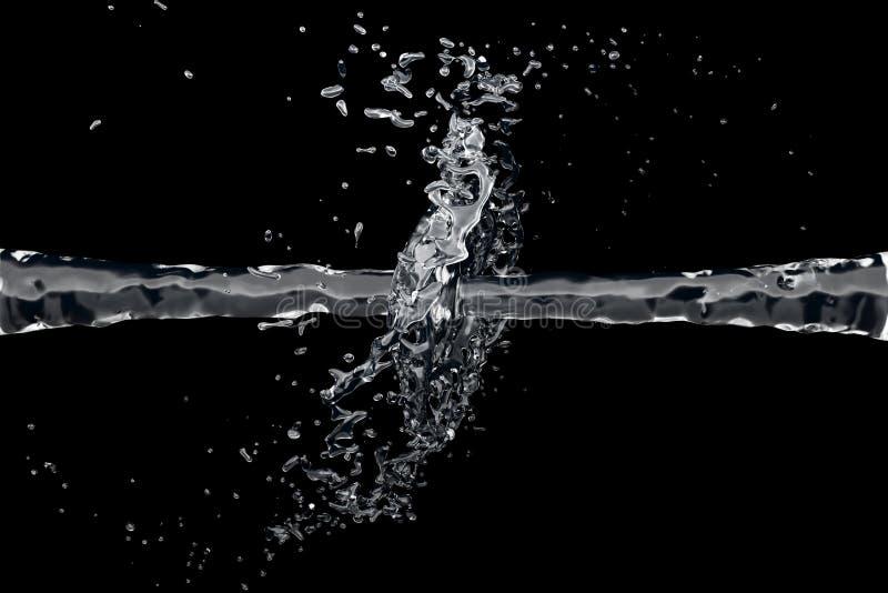 Dois waterjet colidem em um fundo preto ilustração stock