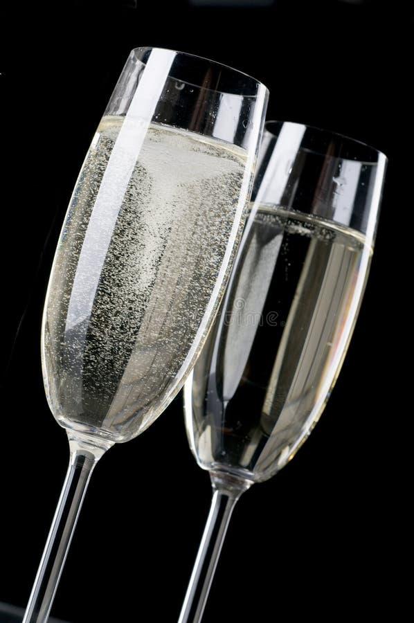 Dois wineglasses do champanhe foto de stock