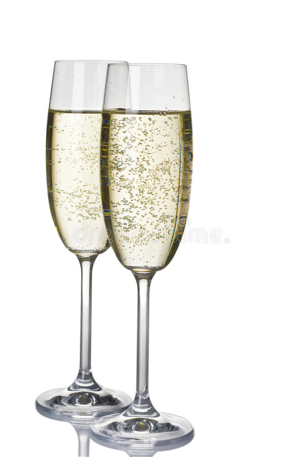 Dois wineglasses do champanhe fotografia de stock