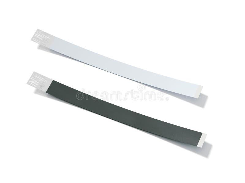 Dois wirstbands do papel vazio rendição 3d ilustração do vetor