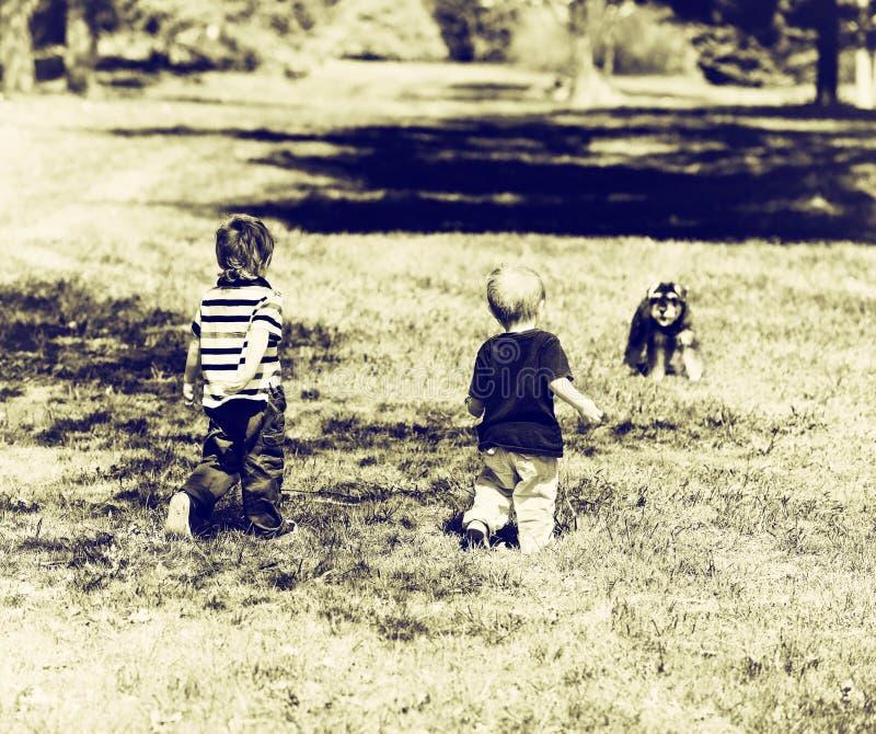 Dois Young Boys em um parque que aproxima um cão - Sepia fotos de stock