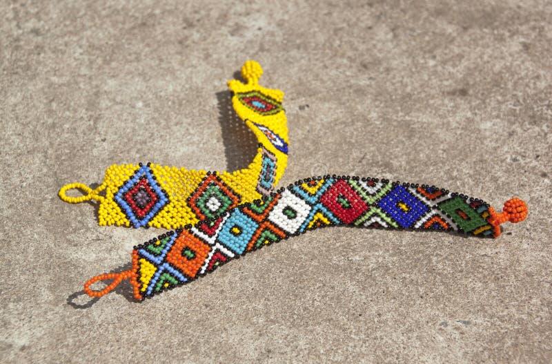Dois Zulu Wrist Bracelets frisado colorido brilhante fotos de stock royalty free