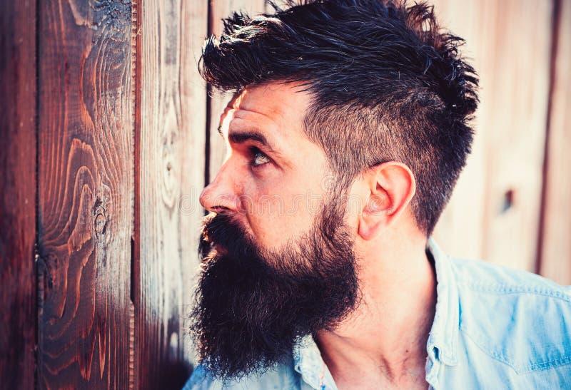 Doit avoir la barbe Homme bel avec la barbe et la moustache de mode Homme barbu avec les cheveux élégants Salon de coiffure ou ra images libres de droits