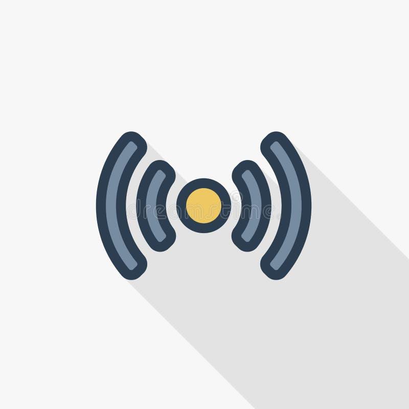 Dojazdowy punkt, fi sygnał, antena koloru cienka kreskowa płaska ikona Liniowy wektorowy symbol Kolorowy długi cienia projekt royalty ilustracja