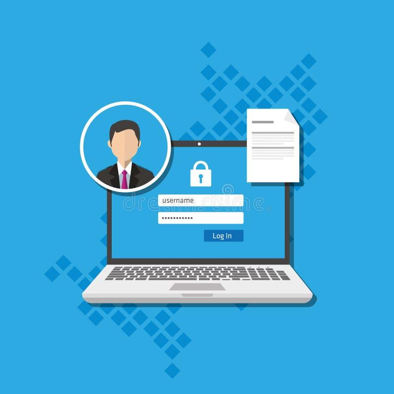 Dojazdowy zarządzanie upoważnia oprogramowania uwierzytelnienia nazwy użytkownika formy system royalty ilustracja