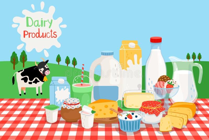 Dojni produkty rolniczy ilustracja wektor