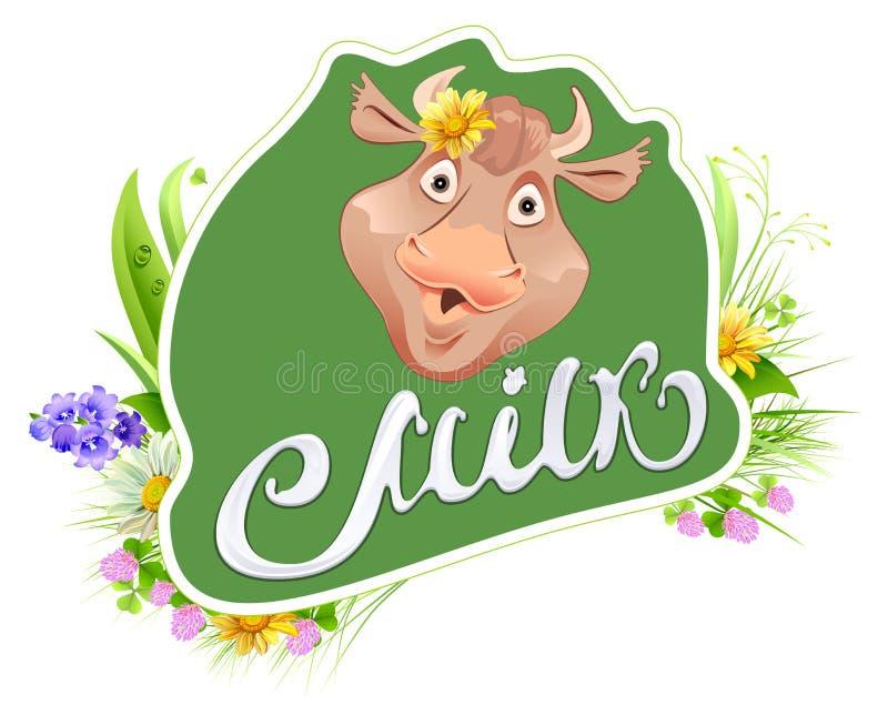 Dojny etykietka szablon dla pakować Krowy kierownicza i łąkowa trawa Dojny literowanie tekst royalty ilustracja