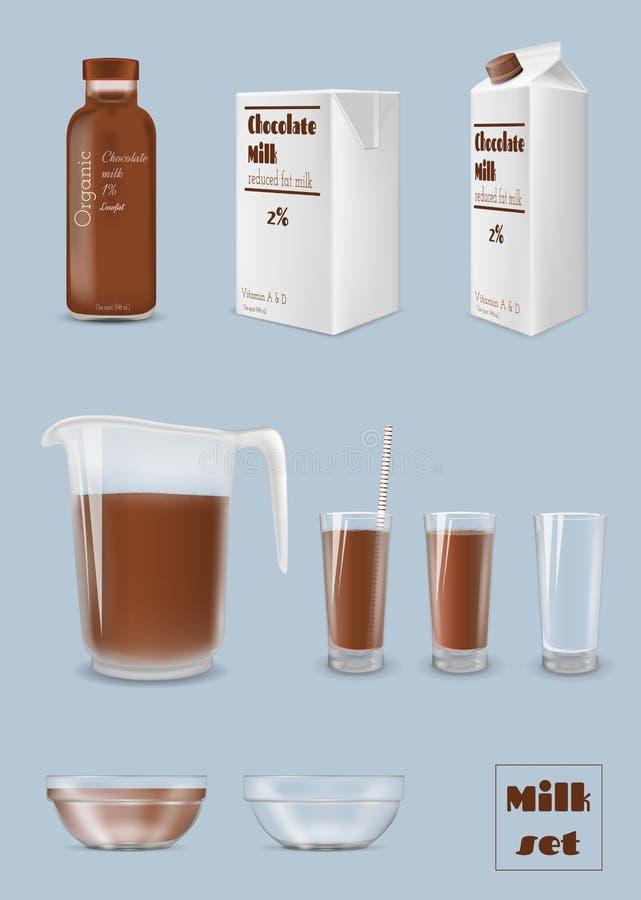 Dojny karton i butelka, szkło czekoladowy mleko Pakować i glassware royalty ilustracja