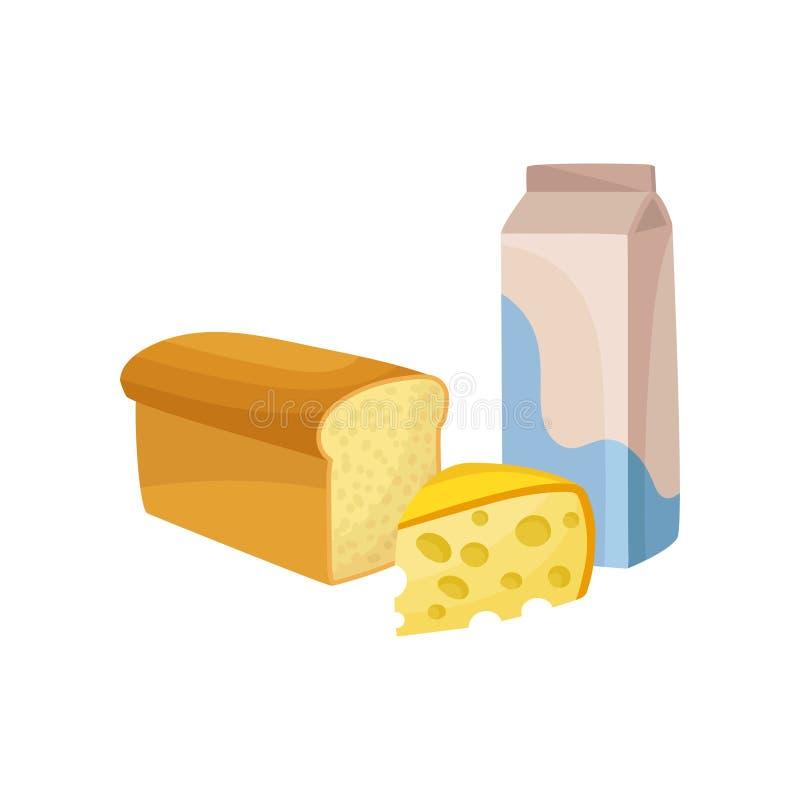 Dojny pakunek, świeży ser i chleb, Nabiału i piekarni produkty Karmowy temat Płascy wektorowi elementy dla promo plakata lub ilustracja wektor