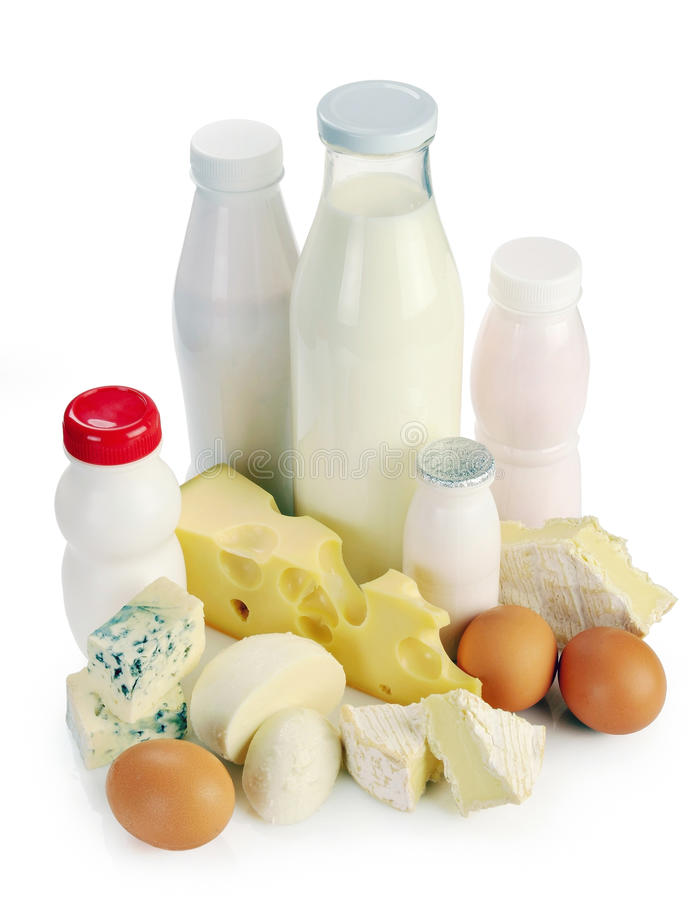 Dojny serowy jogurt i jajka obraz royalty free