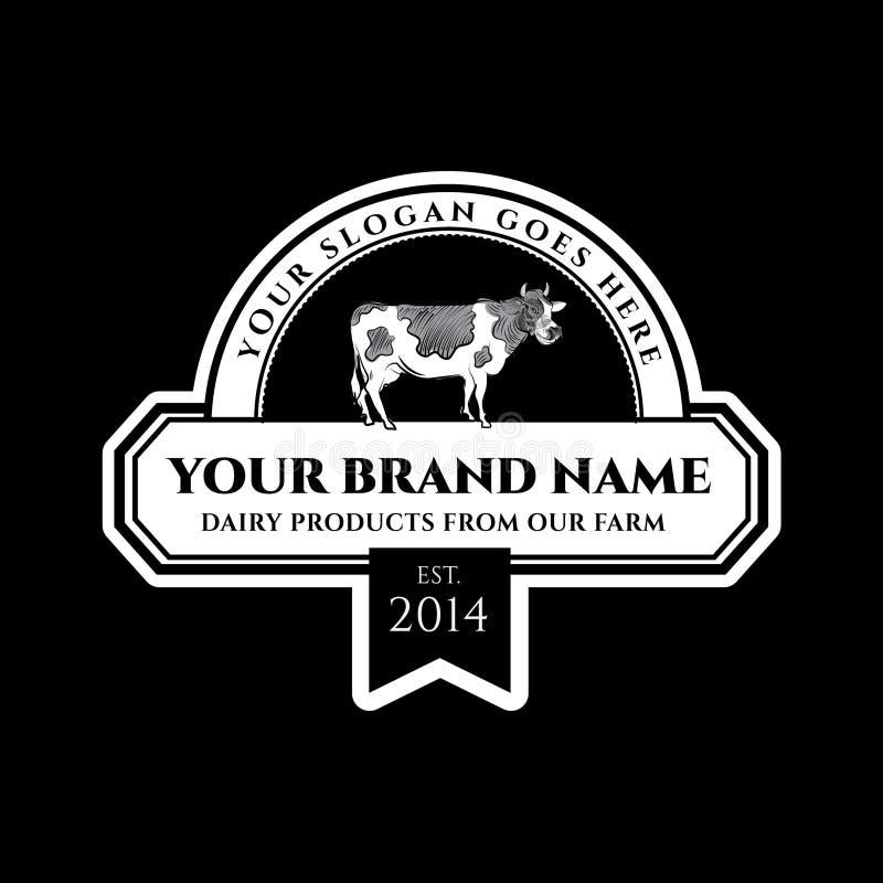 Dojnych produktów wektorowa etykietka Krowa wektoru ilustracja royalty ilustracja
