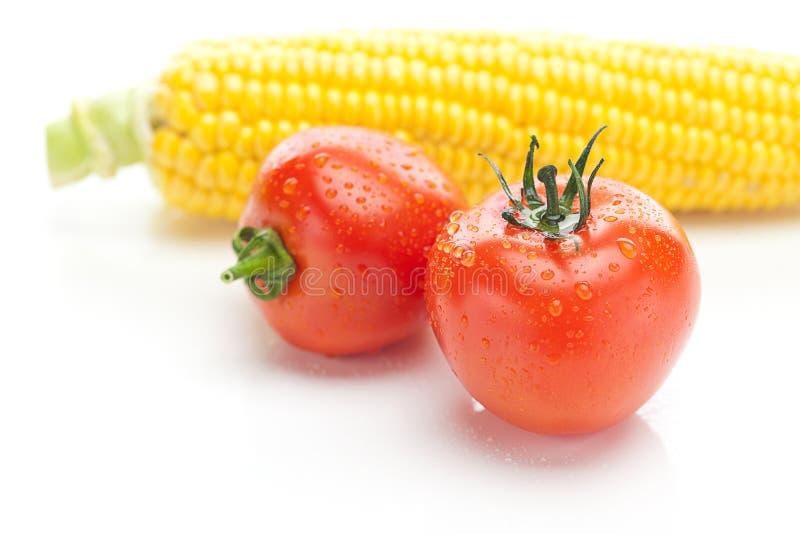 Dojrzała żółta kukurudza i pomidor obrazy royalty free