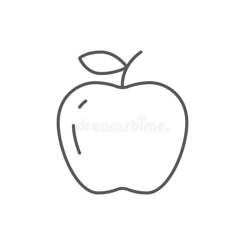 Dojrzała jabłczana editable kontur ikona - piksla perfect świeża organicznie zdrowa owoc z witaminami symbol royalty ilustracja