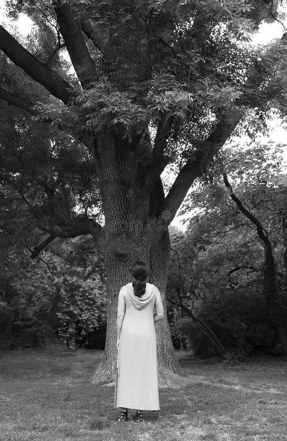 Dojrzała kobieta blisko drzewa w parku zdjęcia royalty free